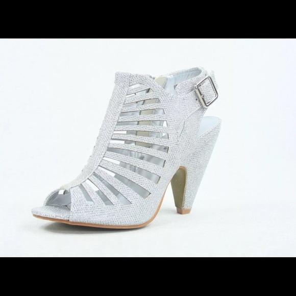 Silver Glitter Small Heels